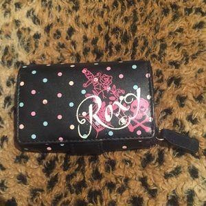 Roxy Black Leather Like Wallet w/ Pink & Blue Dots